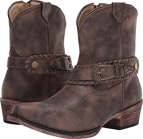 ROPER Womens Vintage Brown Faux Leather Nelly Cowboy Boots 7