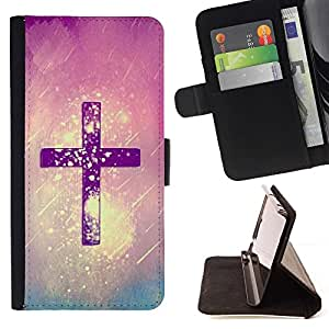 - Cross God Purple Rain Religious Christian/ Personalized Design Custom Style PU Leather Case Wallet Flip Stand - Cao - For HUAWEI P8 Lite