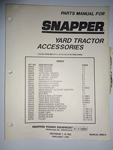 Snapper Yard Tractor ATTACHMENTS and ACCESSORIES Parts Catalog Manual ()