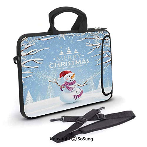 18 Snowman Team (15 inch Laptop Case,Cute Snowman in a Snowy Winter Day with Xmas Hat Frosty Noel Kids Nursery Theme Neoprene Laptop Shoulder Bag Sleeve Case with Handle and Carrying & External Side Pocket,for Netbook)