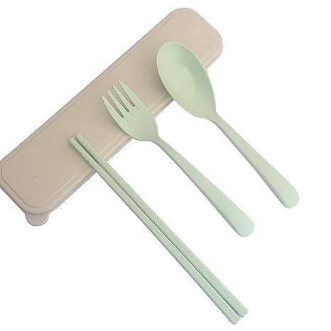 ecago portátil Eco-friendly paja de trigo cubiertos viajes Niños Adultos cubiertos tenedor palillos cuchara