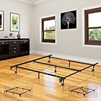 Heavy Duty Metal 7-Leg Adjustable Queen, Full, Full XL, Twin, Twin XL, Bed Frame With Center Support, Rug Rollers & Locking Wheels