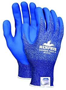 Memphis Glove 9672DTS Diamond Tech 3 Dyneema Technology Shell Gloves with Bi-Polymer Coated Palm/Fingers, Blue/White, Small, 1-Pair