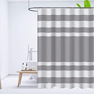 Shower Curtain Set for Bathroom, Bath Curtains or Liner with Hooks for Bathtub, Stall, Washable, 72x72 Inches, Striped White and Brown