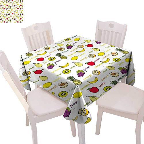 cobeDecor Fruits Printed Tablecloth Kiwi Banana Plums Lemon Orange Pear Grape Apricot Kitchen Food Print Flannel Tablecloth 36