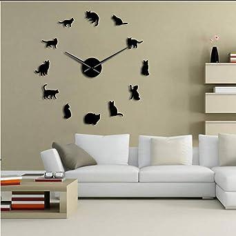 Silueta Gatos Arte de la Pared Gatitos DIY Reloj de Pared Gigante ...