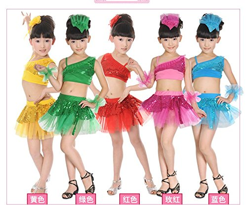 Conga Dance Costumes (The child stage performance costume Latin modern split sequined veil dance skirt suit (yellow, 150cm))