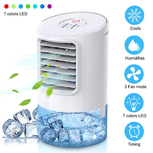 - Mkocean Personal Air Cooler, Mini Space Cooler, Desktop Air Conditioning Fan with 3 Wind Speeds, Compact Evaporative Cooler Air Humidifier, Clean Tank Technology, Perfect for Office Dorm Nightstand