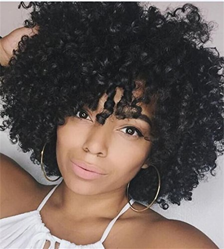 [B-G Short Kinky Curly African American Hair Wigs Synthetic Heat Resistant Wig for Black Women with Wig Cap ( Black )] (Curly Synthetic Hair)