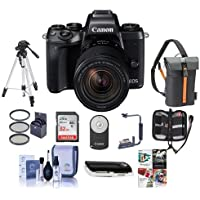 Canon EOS M5 Mirrorless Digital Camera Kit with EF-M 18-150mm f/3.5-6.3 IS STM Lens - Bundle with Holster Case, 32GB SDHC Card, Tripod, Remote Controller, 55mm Filter Kit, Software Package and More