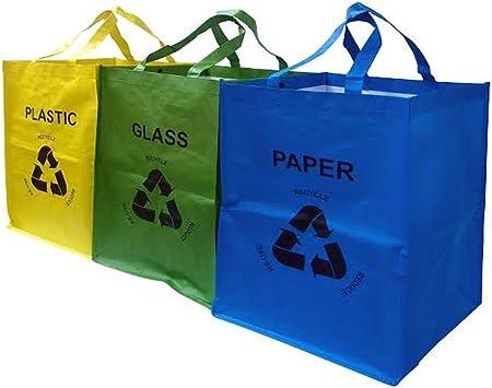 Juego de 3 colores a juego Bolsas de reciclaje resistentes con asas Mercury