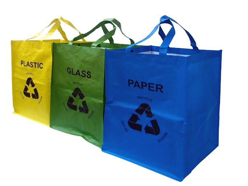 FiNeWaY@ Set of 3 Recycling Recycle Bags Colour Coded Plastic Glass Paper Storage BIN Bag