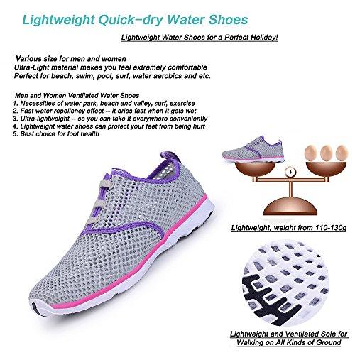 Wasser Schuhe für Frauen schnell trocknende Aqua Schuhe Strand Pool Schuhe Sportliche Sport Wanderschuhe Mesh Slip On Grau