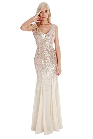9300741422 Blossom s Goddiva Champagne Gold Sequin Chiffon Inserts Long Full Length  Maxi Evening Dress Prom Party  Amazon.co.uk  Clothing