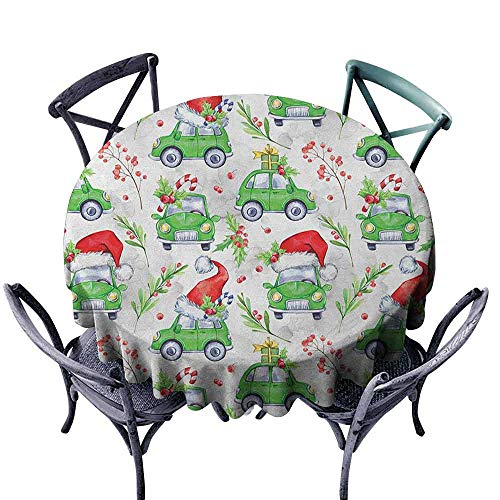 Microfiber Round Tablecloth Table Cover Cars,Noel New Year Celebrations Christmas Composition with Green Cars Santa Hats, Lime Green Scarlet Diameter 60