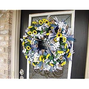 Country Blue Sunflower Wreath, Decor, Fall, Spring, Summer, Front Door, Burlap Wedding Farmhouse Decor, French Country Decor 3