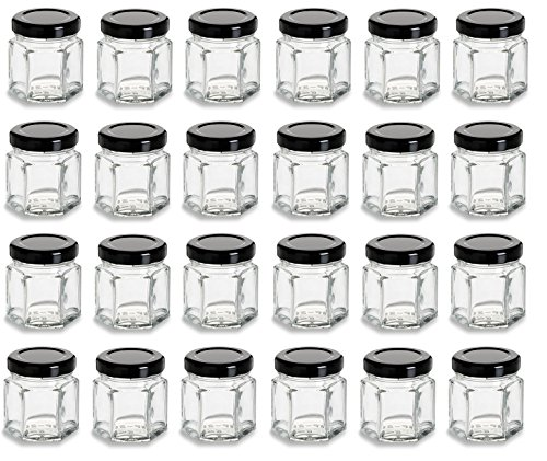 Nakpunar 24 pcs 1.5 oz Mini Hexagon Glass Jars with Black Plastisol Lined Lids by Nakpunar
