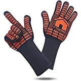 """YYHome BBQ Glove 932°F/500°C Heat Resistant Kitchen Oven Mitts Gloves Premium Insulated Silicone Lined Aramid Fiber Mitts for Cooking, Grilling, Baking- 13.4"""" Long for Extra Forearm Protection"""
