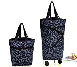 Cocobuy Collapsible Trolley Bags Folding Shopping Bag with Wheels Foldable Shopping Cart Reusable Shopping Bags Grocery Bags Shopping Trolley Bag on Wheels for Women (Black)
