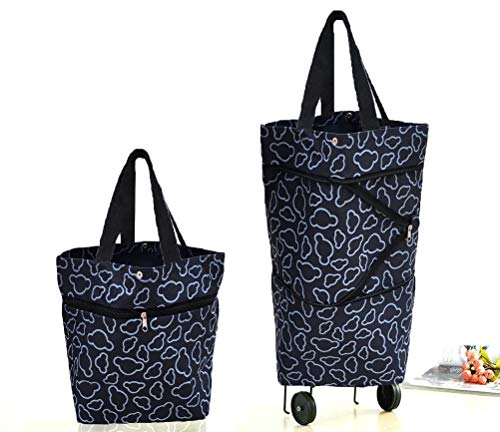 (Cocobuy Collapsible Trolley Bags Folding Shopping Bag with Wheels Foldable Shopping Cart Reusable Shopping Bags Grocery Bags Shopping Trolley Bag on Wheels for Women (Black))