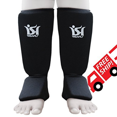 MMA Boxing Martial Art Shin Instep Pads Leg Foot Guards Muay Thai Protector Kick Boxing Black Pair