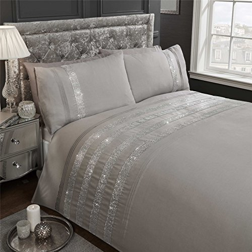 DIAMANTE SEQUIN BANDS PINTUCK GREY COTTON BLEND USA QUEEN SIZE (COMFORTER COVER 230 X 220 - UK KING SIZE) (PLAIN WHITE FITTED SHEET - 152 X 200CM + 25 - UK KING SIZE) 4 PIECE BEDDING SET