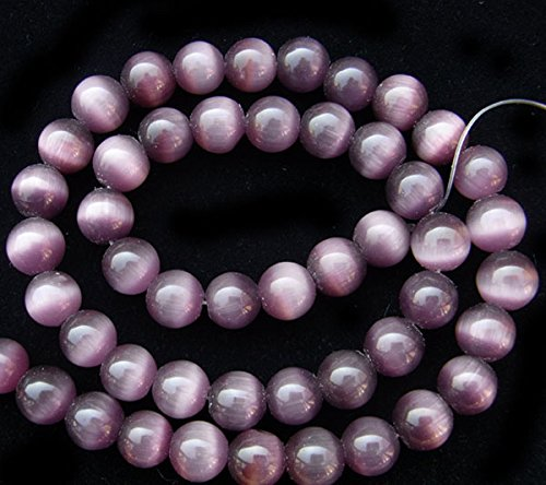 TheTasteJewelry 8mm Round Amethyst Purple Cat Eye Beads 15 inches 38cm Jewelry Making Necklace (Cat Eye 10mm Round Beads)