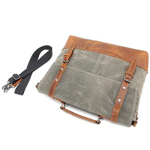mefly Trend Single cubierta de hombro Hombre Resistente al agua bolsa de lona Bolso Cross Computer Bag, azul verde militar