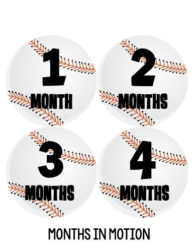 Months in Motion 224 Baby Month Stickers for Newborn Boy Baseball