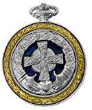 Celtic Pocket Watch Irish Claddagh Cross Motif Case Roman Numerals with Chain Steampunk PW-75