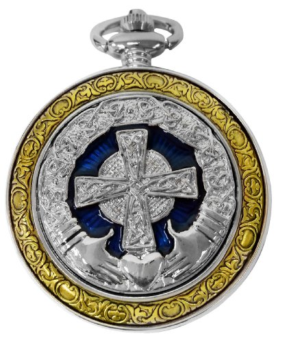 Celtic Claddagh Watch (Celtic Pocket Watch Irish Claddagh Cross Motif Case Roman Numerals with Chain Full Hunter Steampunk PW-75)