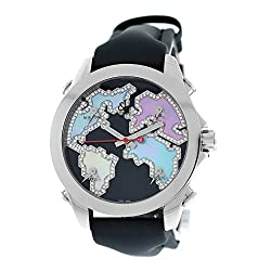 Five Time Zone With Steel & Diamond Watch
