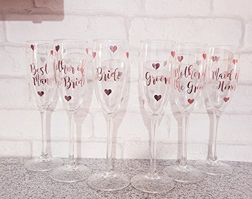 Vinyl decal for wine champagne glasses name and role sticker PERSONALISED