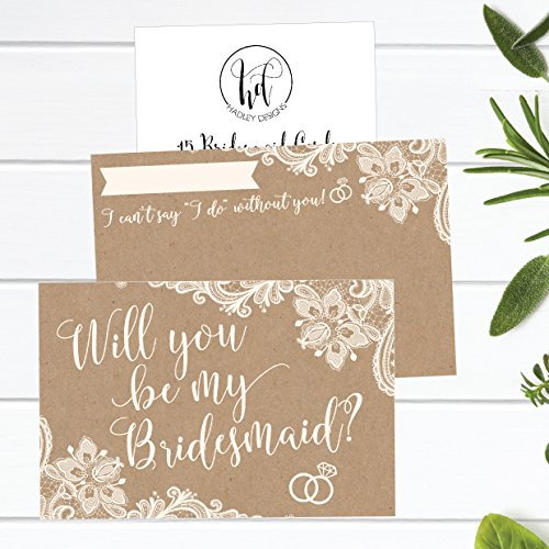 15 Will You Be My Bridesmaid Cards Kraft Lace, I Can't Say I Do Without You, Rustic Bridesmaids Proposal Note For Gifts, Blank Ask To Be Your Bridesmaids Invitations Set, Asking A Bridesmaid Invite Photo #5