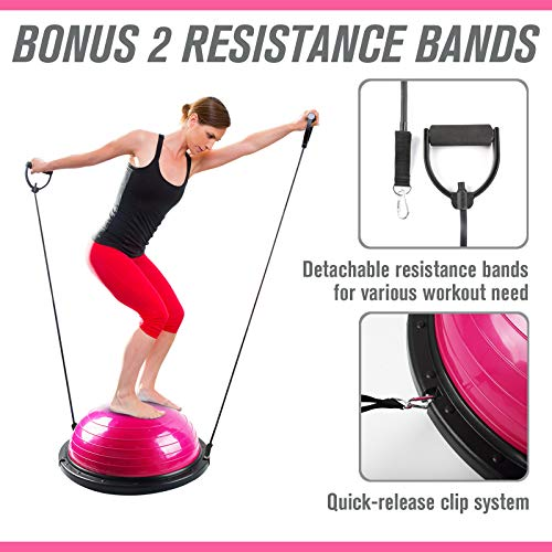RitFit Balance Ball Trainer for Yoga,Fitness,Strength Exercise with Air Pump, Resistance Bands, Free Exercise Wall Chart and DVD (Pink)