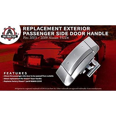 Replacement Passenger Side Exterior Door Handle - Replaces 80606-CD01E, 80606-CD00E - Fits 2003, 2004, 2005, 2006, 2007, 2008, 2009 Nissan 350Z - Models 03, 04, 05, 06, 07, 08, 09: Automotive
