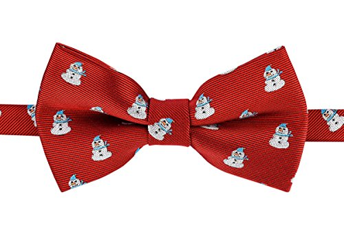 Retreez Christmas Cheerful Snowman Woven Microfiber Pre-tied Boy's Bow Tie - Red, Christmas Gift - 4-7 years by Retreez