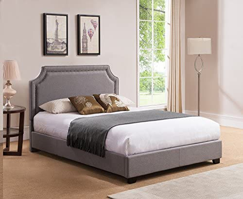 Mantua Brossard Upholstered Platform Bed, King, Grey
