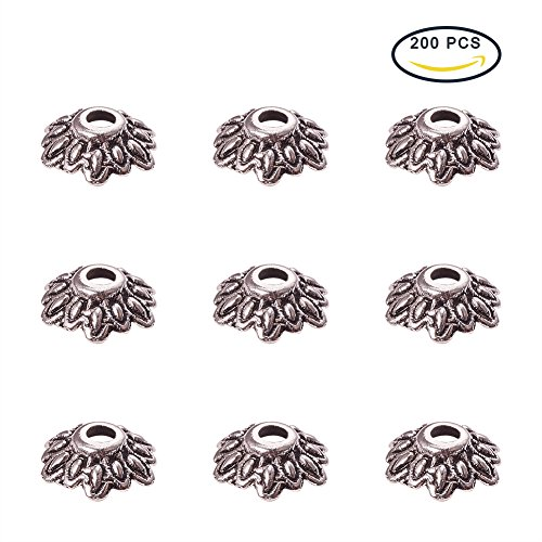 Wholesale Bead Caps (Pandahall 200PCS 8mm Antique Silver Tibetan Style Flower Bead Caps)