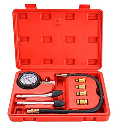 "DASBET Petrol Gas Engine Cylinder Compression Tester 0-300 PSI 3"" Gauge Kit Auto Tool with O Ring"