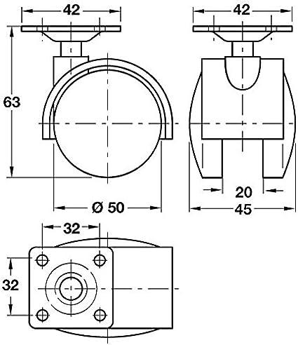 Twin Wheel Swivel Castor Hooded /Ø 50mm Wheels Plate Fixing Without Brake