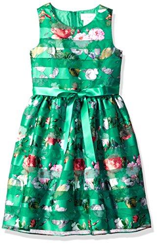 Lavender Girls' Big Floral Print Party Dress, Jade, 10