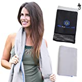 Microfiber Beach Towel & Travel Towel | Size XL [Gray] | Best for Sports, Gym, Fitness, Camping, Yoga | Antibacterial, Quick Dry, Super Absorbent, Compact Pack | Includes FREE Bag | Get Toweled NOW!