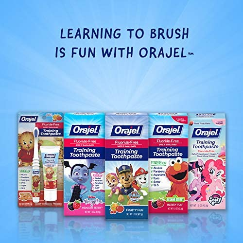 51wW3nb5l8L. AC - Orajel My Little Pony Fluoride-Free Training Toothpaste, Pinky Fruity Flavor, One 1.5oz Tube: Orajel #1 Pediatrician Recommended Brand For Kids Non-Fluoride Toothpaste