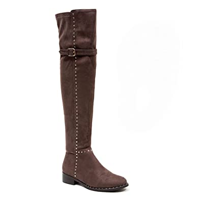 0b9ea8fa01ea Amazon.com | French Blu Women's Faux Suede Studded Over The Knee Boot | Over -the-Knee