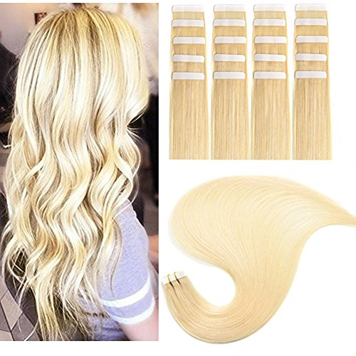 TheFashionWay Brazilian Human Hair Extensions Tape in Silky Straight Weft Remy Virgin Hair (18 inches, #60)