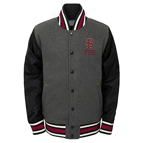 "Review NCAA Florida State Seminoles Youth Boys ""Letterman"" Varsity Jacket, Small (8), Charcoal Grey"