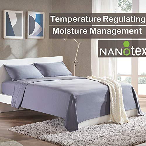 SLEEP ZONE Bed Sheet Sets Temperature Regulation Soft Wrinkle Free Fade Resistant Easy Sheets 4 PC, Gray,Queen