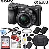 Sony a6300 4K Mirrorless Camera ILCE-6300L/B Alpha with 16-50mm F3.5–5.6 OSS Lens (Black) and Case Extra Battery Memory Card Pro Photograpy Bundle