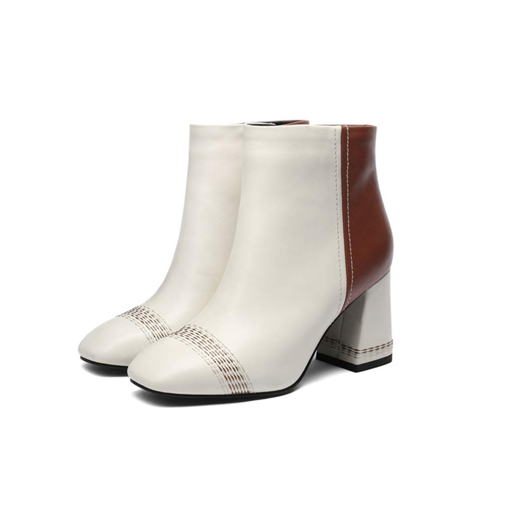 YAN Damen Stiefeletten, Mode Winter Damen Stiefelie Leder Herbst Stiefel Chunky Heel Round Toe Formal